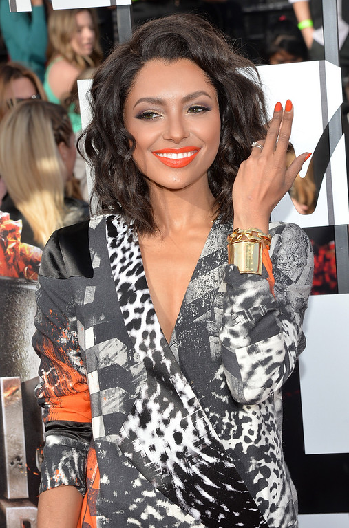 Description of . Actress Kat Graham attends the 2014 MTV Movie Awards at Nokia Theatre L.A. Live on April 13, 2014 in Los Angeles, California.  (Photo by Michael Buckner/Getty Images)