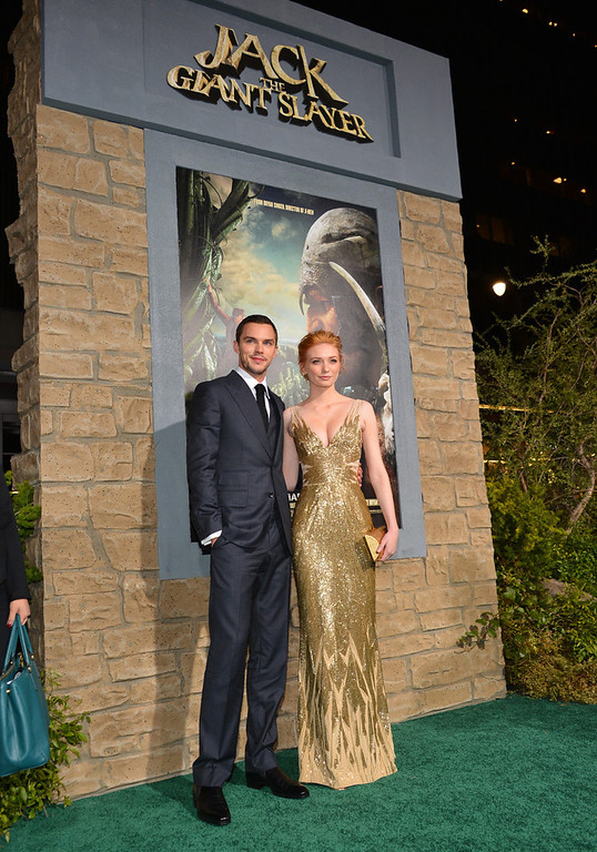 """Description of . Actors Eleanor Tomlinson (L) and Nicholas Hoult attend the premiere of New Line Cinema\'s \""""Jack The Giant Slayer\"""" at TCL Chinese Theatre on February 26, 2013 in Hollywood, California.  (Photo by Alberto E. Rodriguez/Getty Images)"""
