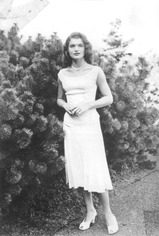 Description of . Jacqueline Bouvier Kennedy as a young debutante in the late 1940s.