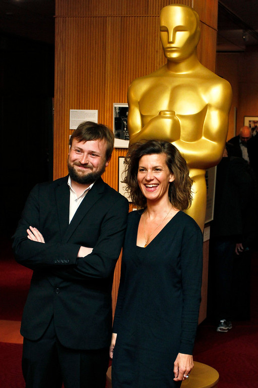 Description of . Tom Van Avermaet (L) and Ellen De Waele, filmmakers of the Live-Action Short Film nominee