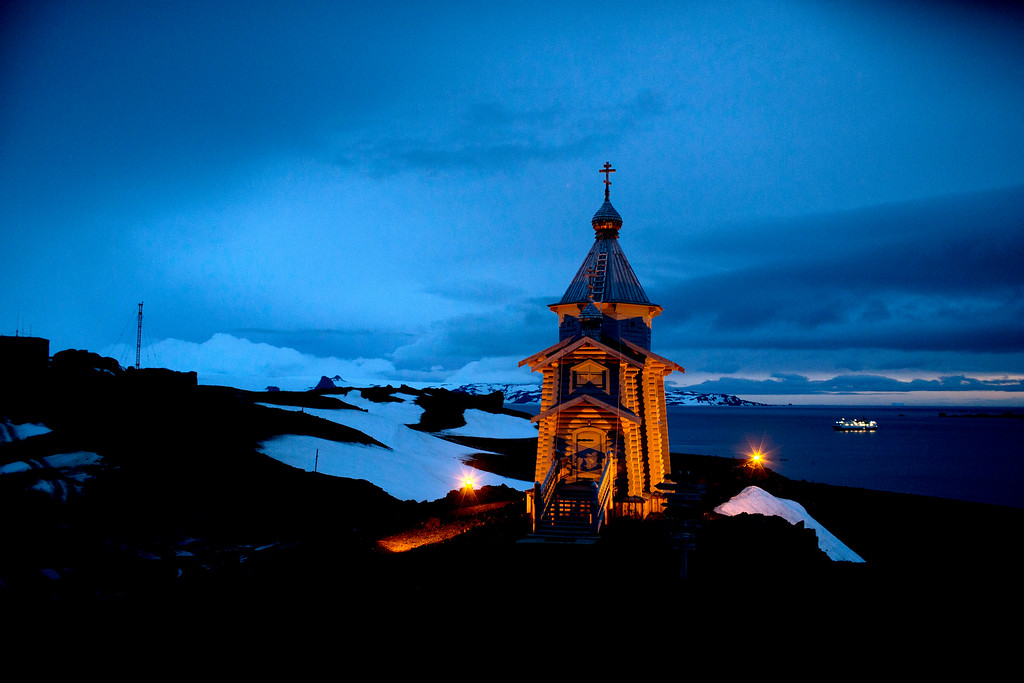 Description of . In this Feb. 1, 2015 photo, Holy Trinity church stands illuminated at Russia's Bellinghausen station on King George Island in Antarctica. Holy Trinity is the world's southernmost Eastern Orthodox Church. (AP Photo/Natacha Pisarenko)