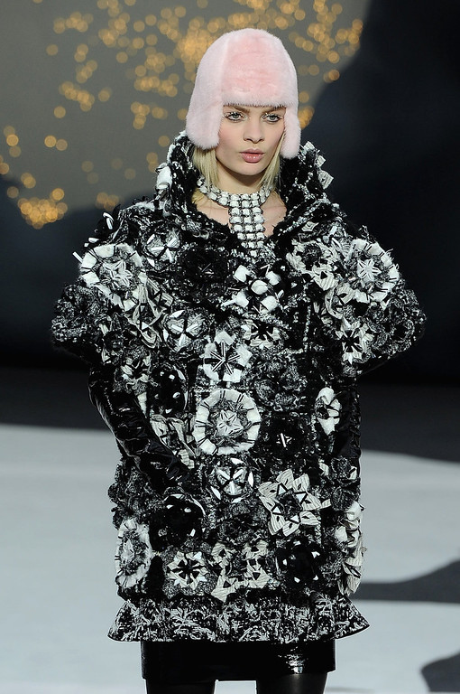Description of . A model walks the runway during Chanel Fall/Winter 2013 Ready-to-Wear show as part of Paris Fashion Week at Grand Palais on March 5, 2013 in Paris, France.  (Photo by Pascal Le Segretain/Getty Images)