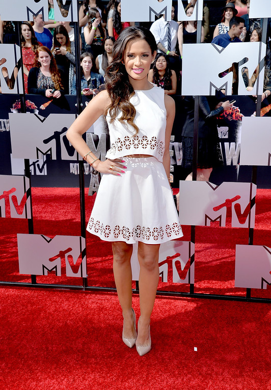 Description of . TV personality Rocsi Diaz attends the 2014 MTV Movie Awards at Nokia Theatre L.A. Live on April 13, 2014 in Los Angeles, California.  (Photo by Michael Buckner/Getty Images)