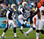 San Diego Chargers kicker Nick Novak (2nd L) jumps in the air to give his attempted field goal kick some re-direction, as Chargers punter Mike Scifres (5) looks on, but the kick failed playing against the Cincinnati Bengals in the third quarter of their NFL football game in San Diego, California December 2, 2012. The Bengals won the game 20-13.    REUTERS/Alex Gallardo