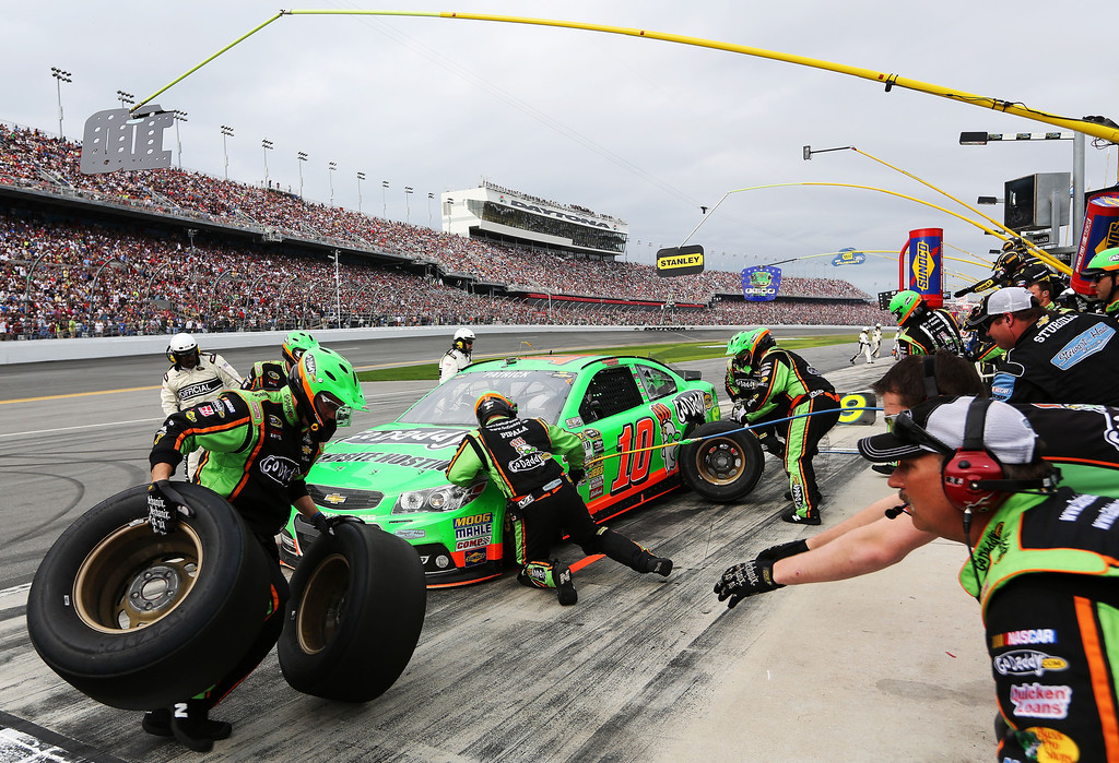 Description of . Danica Patrick, driver of the #10 GoDaddy.com Chevrolet, pits during the NASCAR Sprint Cup Series Daytona 500 at Daytona International Speedway on February 24, 2013 in Daytona Beach, Florida.  (Photo by Jerry Markland/Getty Images)