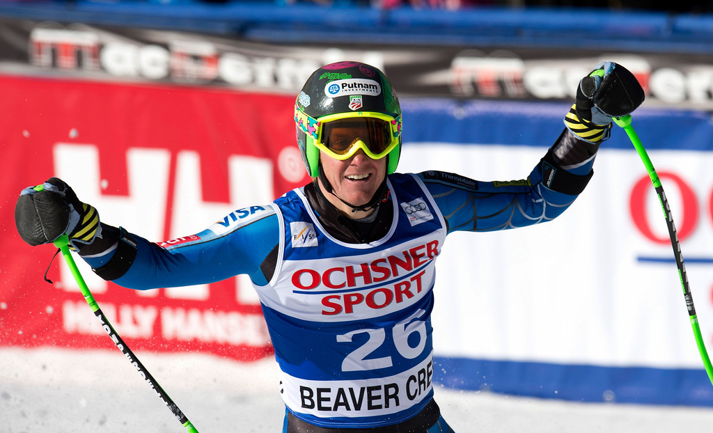 Description of . Ted Ligety of the US celebrates his fourth place finish in the FIS Alpine World Cup men\'s Super G on December 1, 2012 in Beaver Creek, Colorado.      DON EMMERT/AFP/Getty Images