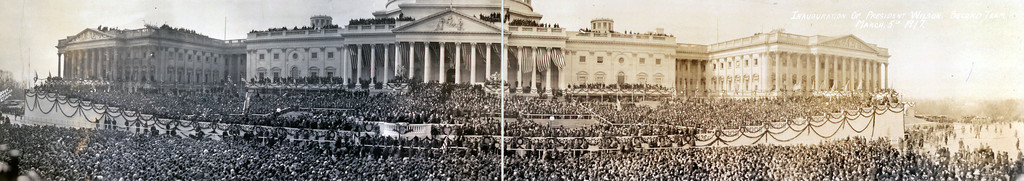 Description of . This panorama image, formed by putting two photos next to each other, shows the March 15, 1917 inauguration of President Woodrow Wilson. Wilson was beginning his second term in office. (AP Photo/Library of Congress)