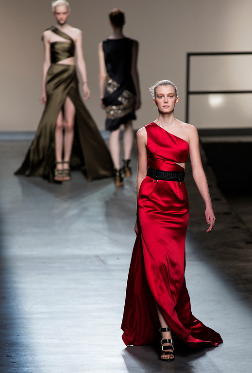 . A model walks the runway at the presentation of the Prabal Gurung Fall 2013 fashion collection during Fashion Week, Saturday, Feb. 9, 2013, in New York. (AP Photo/Craig Ruttle)