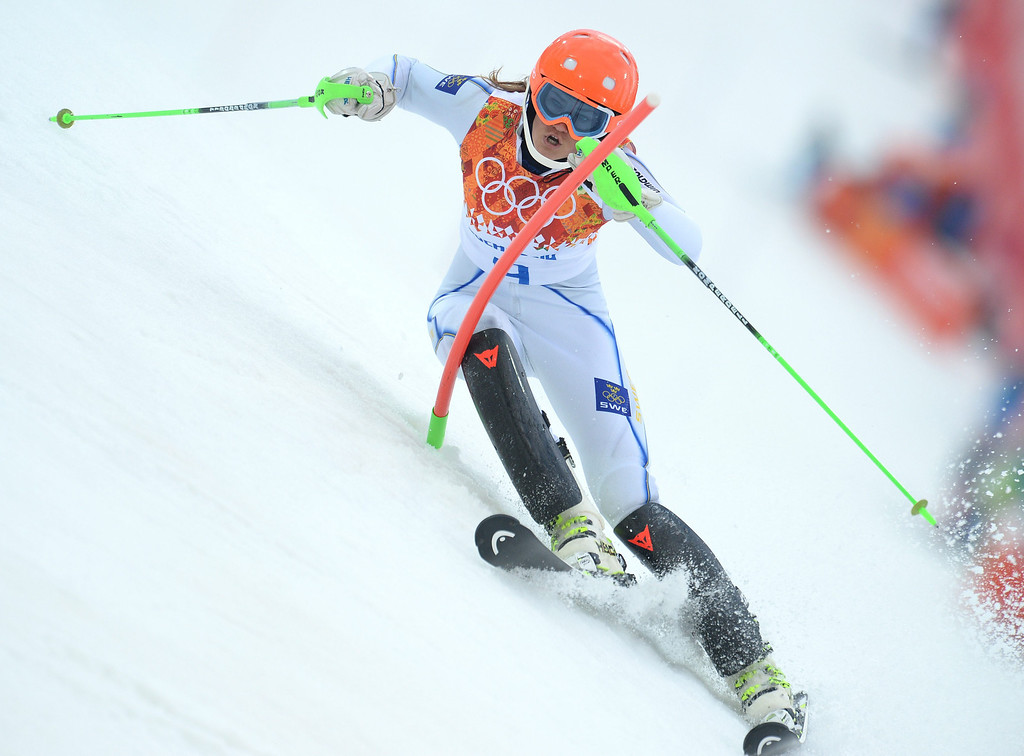 Description of . Anna Swenn-Larsson of Sweden in action during the first run of the Women's Slalom race at the Rosa Khutor Alpine Center during the Sochi 2014 Olympic Games, Krasnaya Polyana, Russia, 21 February 2014.  EPA/VASSIL DONEV