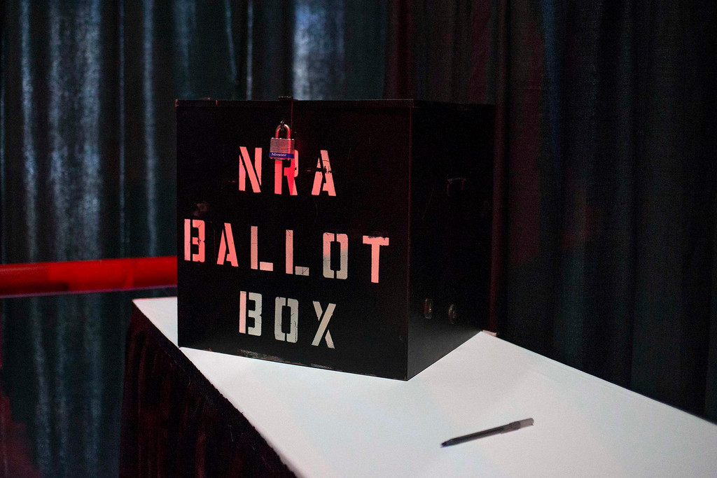 Description of . A NRA ballot box is seen inside a voting booth during the National Rifle Association's Annual Meeting of Members in Houston, Texas on May 4, 2013. Organizers expect some 70,000 attendees at the 142nd NRA Annual Meetings & Exhibits in Houston, which began on Friday and continues through Sunday. REUTERS/Adrees Latif