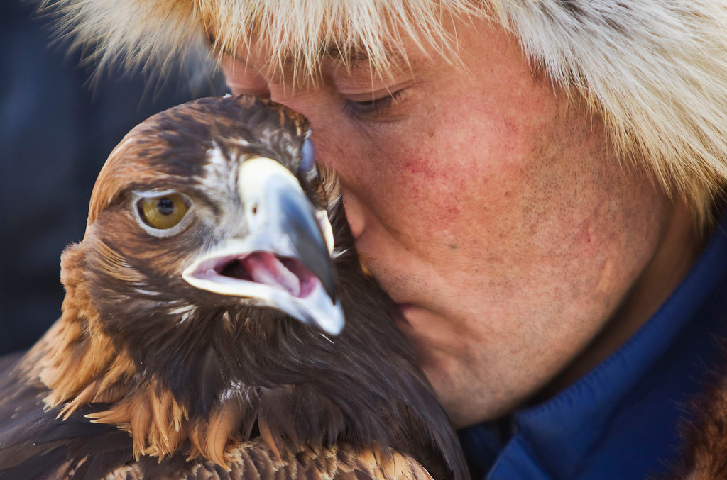 Description of . A Kazakh hunter whispers to his tamed golden eagle during an annual hunting competition in Chengelsy Gorge, some 150 km (93 miles) east of Almaty February 23, 2013.  REUTERS/Shamil Zhumatov
