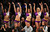 LOS ANGELES, CA - DECEMBER 25:  The Laker Girls dance squad point to the bench after Tyson Chandler #6 of the New York Knicks (not in photo) fouled out of the game in the fourth quarter during the NBA game between the New York Knicks and the Los Angeles Lakers at Staples Center on December 25, 2012 in Los Angeles, California.  The Lakers defeated the Knicks 100-94. (Photo by Victor Decolongon/Getty Images)