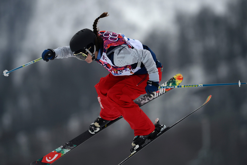 Description of . Italy\'s Silvia Bertagna takes a jump during the women\'s freestyle skiing slopestyle final at the Rosa Khutor Extreme Park, at the 2014 Winter Olympics, Tuesday, Feb. 11, 2014, in Krasnaya Polyana, Russia. (AP Photo/Sergei Grits)