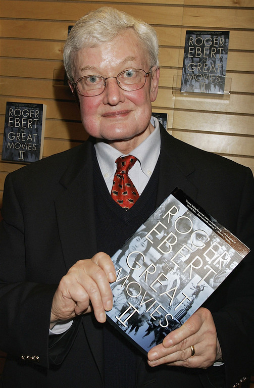 "Description of . Film critic Roger Ebert poses at the book signing for his ""Great Movies II\"" at Barnes & Noble Booksellers on March 7, 2006 in Santa Monica, California. (Photo by David Livingston/Getty Images)"