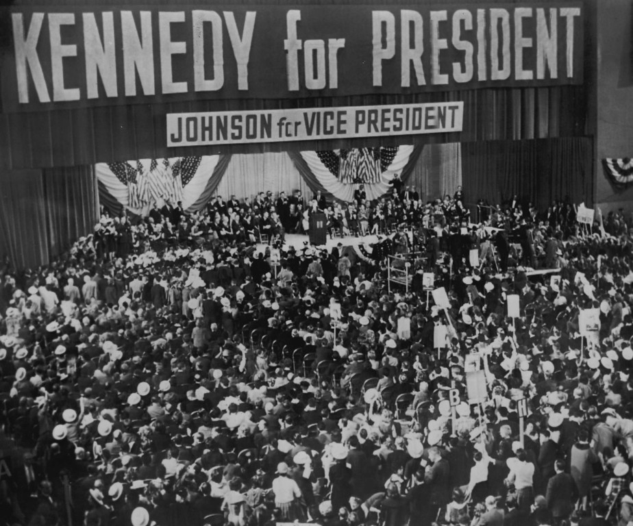 Description of . As a senator and  Democratic presidential candidate, Kennedy addresses a political rally Nov. 5, 1960, at the New York Coliseum. Denver Post file