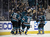 SAN JOSE, CA - JANUARY 24:  Logan Couture #39 of the San Jose Sharks is surrounded by his teammates after he scored a powerplay goal in the first period of their game against the Phoenix Coyotes at HP Pavilion on January 24, 2013 in San Jose, California.  (Photo by Ezra Shaw/Getty Images)