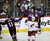 DENVER, CO. - FEBRUARY 11: Matt Duchene (9) of the Colorado Avalanche celebrates his second period with PA Parenteau (15) and Jamie McGinn (11) as Michael Stone (29) of the Phoenix Coyotes looks up at the scoreboard February 11, 2013 at Pepsi Center.(Photo By John Leyba/The Denver Post)