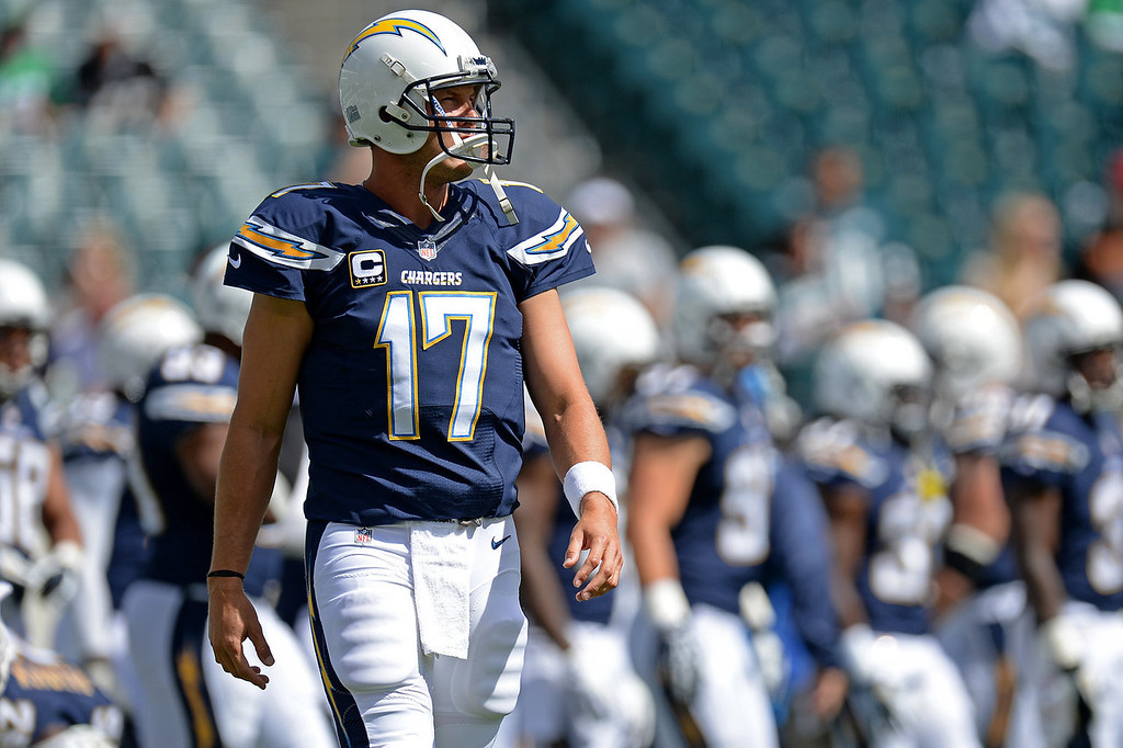 Description of . Quarterback Philip Rivers #17 of the San Diego Chargers walks on the field during pre-game before playing the Philadelphia Eagles at Lincoln Financial Field on September 15, 2013 in Philadelphia, Pennsylvania. (Photo by Patrick Smith/Getty Images)