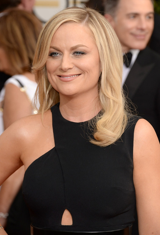 Description of . Actress Amy Poehler attends the 71st Annual Golden Globe Awards held at The Beverly Hilton Hotel on January 12, 2014 in Beverly Hills, California.  (Photo by Jason Merritt/Getty Images)