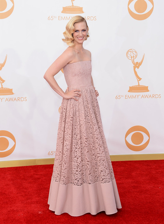 Description of . Actress January Jones arrives at the 65th Annual Primetime Emmy Awards held at Nokia Theatre L.A. Live on September 22, 2013 in Los Angeles, California.  (Photo by Jason Merritt/Getty Images)