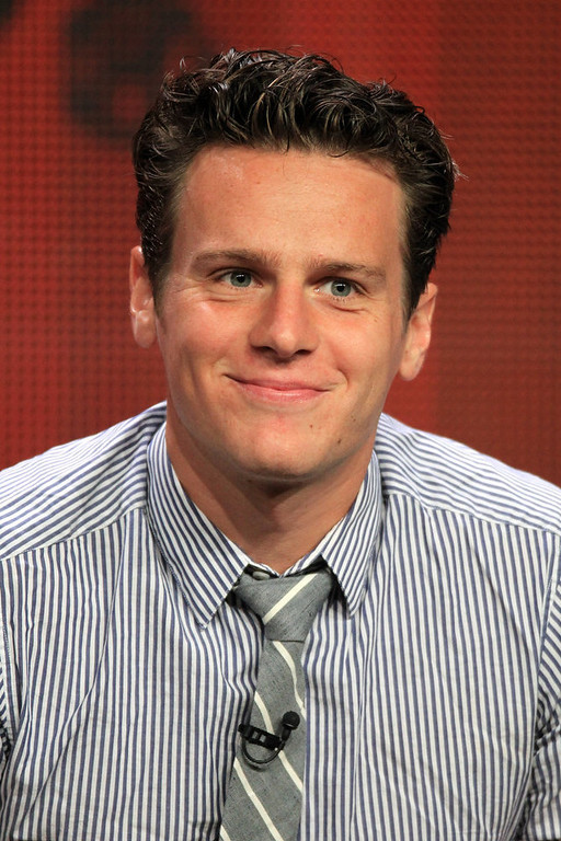 Description of . Actor Jonathan Groff speaks at the \'Boss\' discussion panel during the Starz portion of the 2012 Summer Television Critics Association tour at the Beverly Hilton Hotel on August 2, 2012 in Los Angeles, California.  (Photo by Frederick M. Brown/Getty Images)