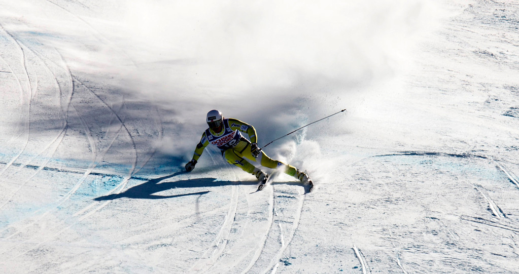 Description of . Kjetil Jansrud of Norway holds his edge to finish sixth in the FIS Alpine World Cup men\'s Super G on December 1, 2012 in Beaver Creek, Colorado.    DON EMMERT/AFP/Getty Images