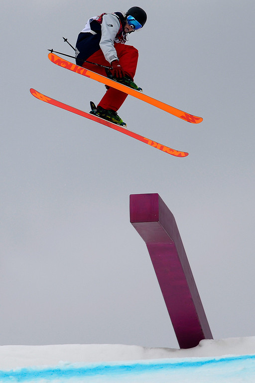Description of . Canada\'s Kim Lamarre crashes during the women\'s freestyle skiing slopestyle final at the Rosa Khutor Extreme Park, at the 2014 Winter Olympics, Tuesday, Feb. 11, 2014, in Krasnaya Polyana, Russia. (AP Photo/Sergei Grits)