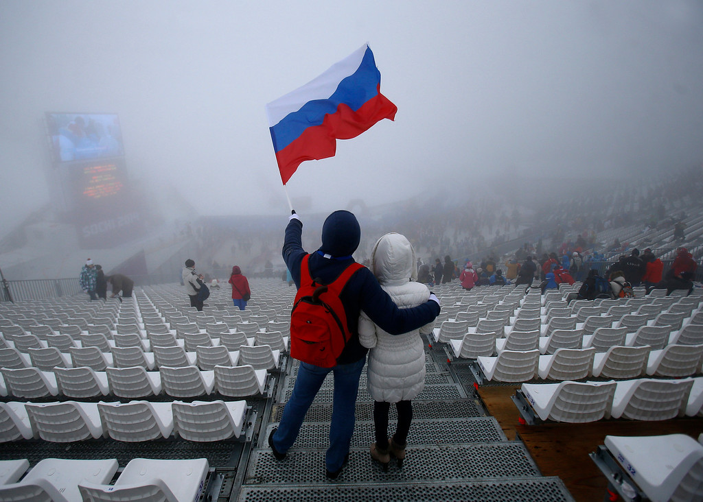 Description of . Men's Snowboard Cross was delayed due to fog at the Rosa Khutor Extreme Park for the 2014 Winter Olympics in Krasnaya Polyana, Russia on Monday, Feb. 17, 2014.  (Nhat V. Meyer/Bay Area News Group)