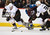 DENVER, CO. - FEBRUARY 06: P.A. Parenteau (15) of the Colorado Avalanche loses control of the puck to Saku Koivu (11) of the Anaheim Ducks and Daniel Winnik (34) of the Anaheim Ducks during the third period February 6, 2013 at Pepsi Center. The Colorado Avalanche fall to the Anaheim Ducks  3-0 during NHL action. (Photo By John Leyba / The Denver Post)