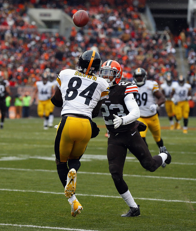Description of . Wide receiver Antonio Brown #84 of the Pittsburgh Steelers catches a touchdown pass as he is hit by defensive back Joe Haden #23 of the Cleveland Browns at FirstEnergy Stadium on November 24, 2013 in Cleveland, Ohio.  (Photo by Matt Sullivan/Getty Images)