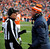 Denver Broncos head coach John Fox has words with Line Judge Ron Marinucci during the first half.  The Denver Broncos vs Baltimore Ravens AFC Divisional playoff game at Sports Authority Field Saturday January 12, 2013. (Photo by Tim Rasmussen,/The Denver Post)