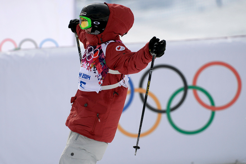 Description of . Canada\'s Kim Lamarre celebrates finishing her run and earning a silver medal during the women\'s ski slopestyle final. Sochi 2014 Winter Olympics on Tuesday, February 11, 2014. (Photo by AAron Ontiveroz/The Denver Post)