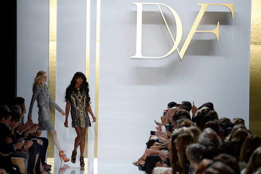Description of . Naomi Campbell walks the runway at the Diane Von Furstenberg fashion show during Mercedes-Benz Fashion Week Spring 2014 at The Theatre at Lincoln Center on September 8, 2013 in New York City.  (Photo by Frazer Harrison/Getty Images for Mercedes-Benz Fashion Week Spring 2014)