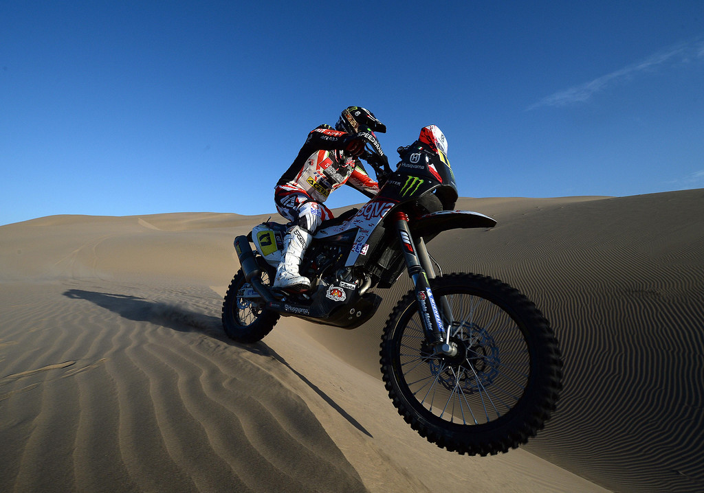 Description of . Italia's biker Alessandro Botturi competes during Stage 4 of the Dakar 2013 between Nazca and Arequipa, Peru, on January 8, 2013. The rally will take place in Peru, Argentina and Chile from January 5 to 20. FRANCK FIFE/AFP/Getty Images