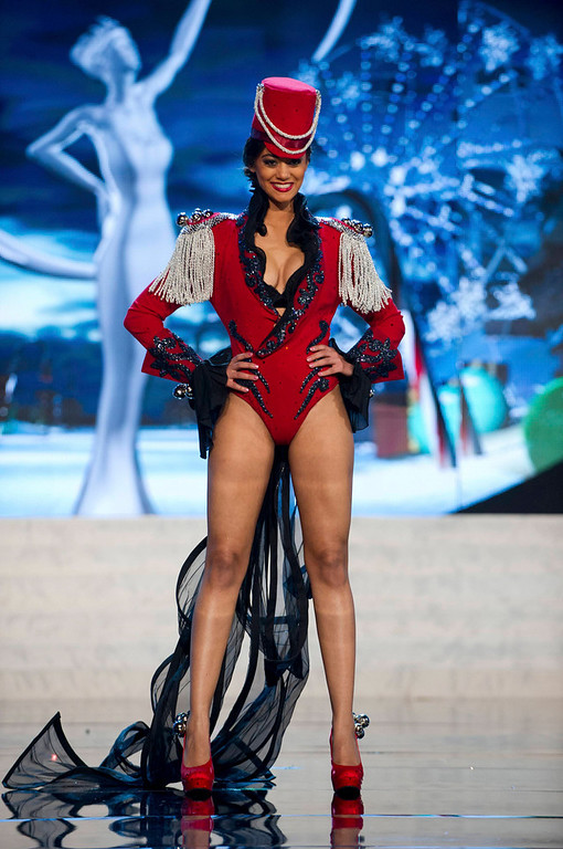 Description of . Miss Switzerland Alina Buchschacher performs onstage at the 2012 Miss Universe National Costume Show at PH Live in Las Vegas, Nevada December 14, 2012. The 89 Miss Universe Contestants will compete for the Diamond Nexus Crown on December 19, 2012. REUTERS/Darren Decker/Miss Universe Organization/Handout