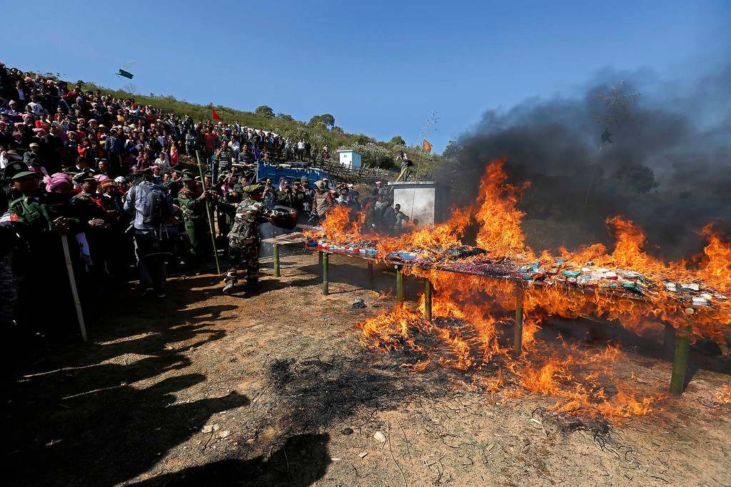 Description of . Soldiers of the Ta-ang National Liberation Army (TNLA), one of the ethnic rebel groups, burning a pile of seized drugs in Homain village, Nansam Township, Northern Shan State, Myanmar, 12 January 2014. Myanmar's opium production in 2013 was expected to reach 870 tons, a 26-per-cent increase year-on-year, for a 13-per-cent increase in cultivated area, the United Nations said. Last year, Myanmar produced an estimated 690 tons of opium, compared with 41 tons in Laos and 3 tons in Thailand, the three significant producers in South-East Asia. Myanmar was the world's largest source of opium and its derivative heroin in the early 1990s, but is now ranked second after Afghanistan. Myanmar's northern Shan State, home to several insurgencies including the Shan State Army and United Wa State Army, accounted for 92 per cent of opium poppy cultivation this year, with the remainder located in neighbouring Kachin State, where government troops and the Kachin Independence Army have been fighting since 2011, the report said.  EPA/NYEIN CHAN NAING