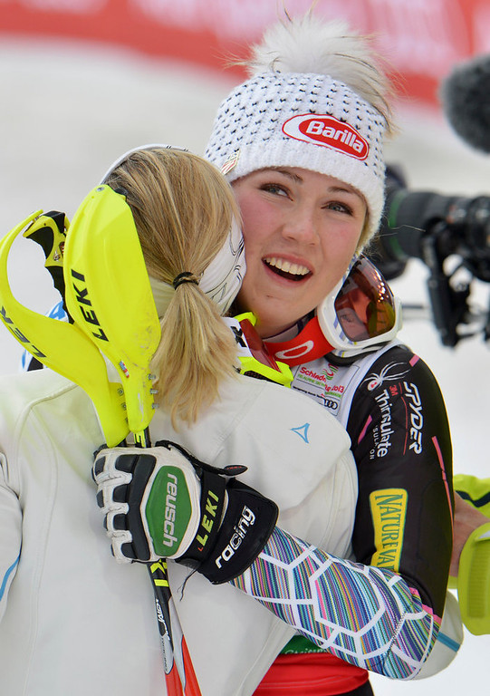 Description of . United States' Mikaela†Shiffrin celebrates winning the gold medal after the second run of the women's slalom at the Alpine skiing world championships in Schladming, Austria, Saturday, Feb. 16, 2013. (AP Photo/Kerstin Joensson)