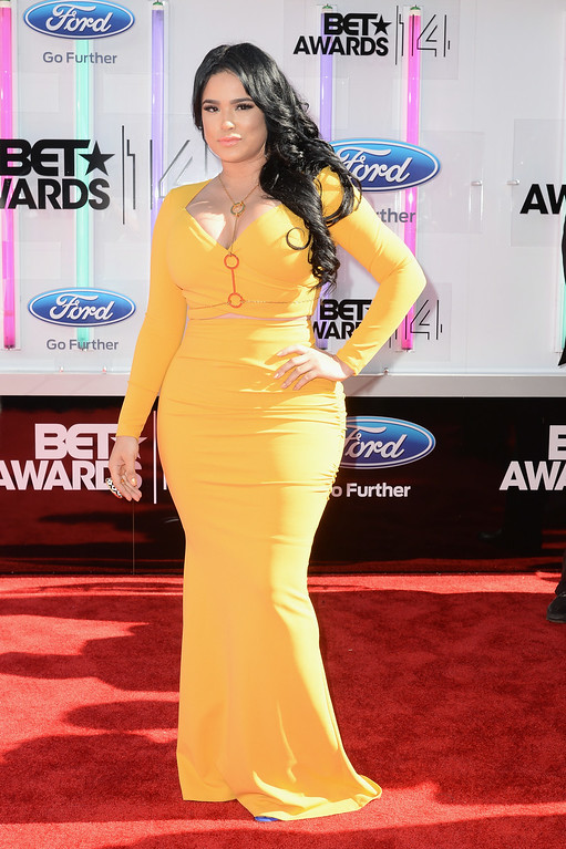 Description of . Emily B attends the BET AWARDS '14 at Nokia Theatre L.A. LIVE on June 29, 2014 in Los Angeles, California.  (Photo by Earl Gibson III/Getty Images for BET)
