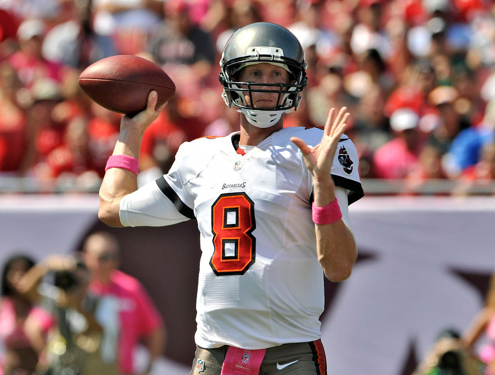 Description of . Tampa Bay Buccaneers quarterback Mike Glennon (8) throws a pass against the Philadelphia Eagles during the first quarter of an NFL football game Sunday, Oct. 13, 2013, in Tampa, Fla. (AP Photo/Steve Nesius)