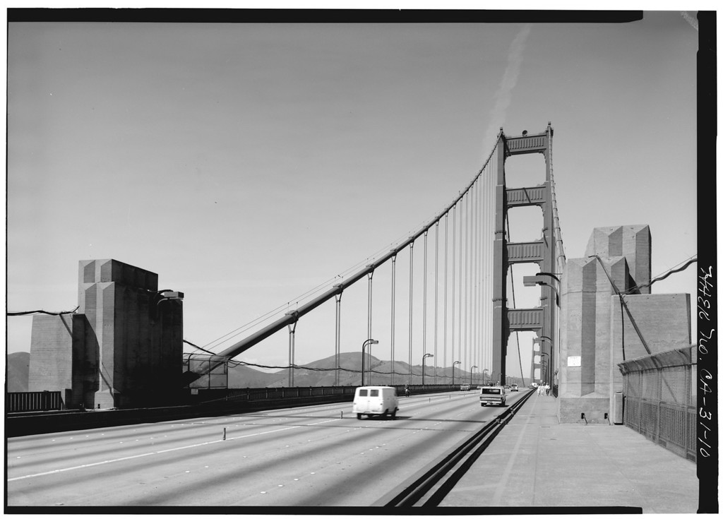 Description of . Looking north from the deck of the Golden Gate Bridge, 1984. (Photo by Jet Lowe, Library of Congress)
