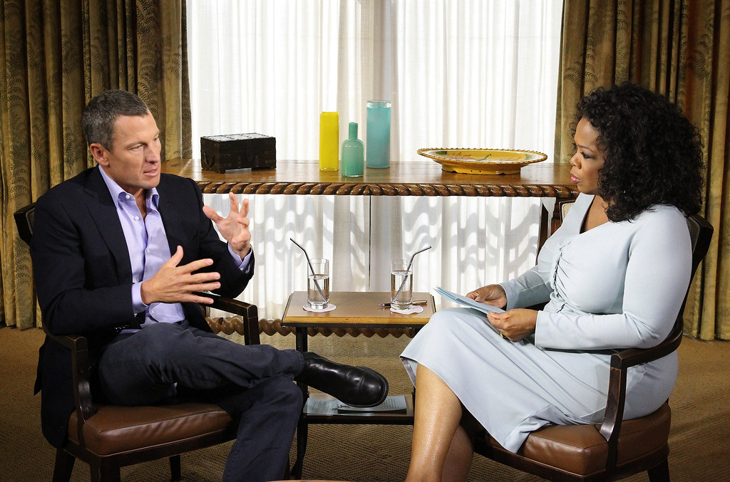 Description of . Oprah Winfreys hosts an exclusive interview with  American cyclist Lance Armstrong.  Armstrong addressed the alleged doping scandal, following years of accusations of cheating and charges of lying about the use of performance-enhancing drugs throughout his storied cycling career. Armstrong was given a lifetime ban on competing professionally.    GEORGE BURNS/AFP/Getty Images