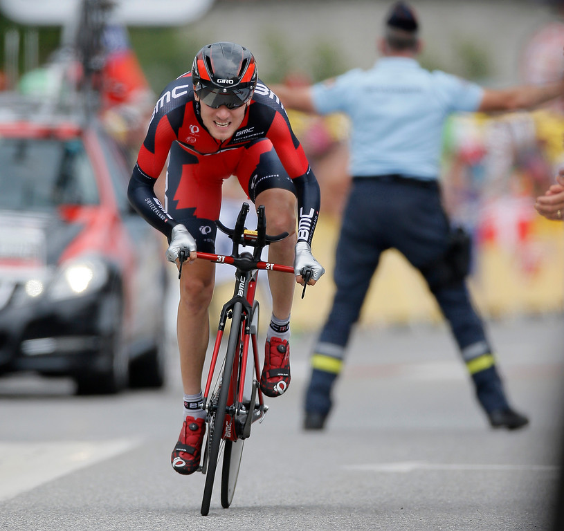 Description of . Tejay van Garderen of the U.S. strains in the last meters of the seventeenth stage of the Tour de France cycling race an individual time trial over 32 kilometers (20 miles) with start in Embrun and finish in Chorges, France, Wednesday July 17, 2013. (AP Photo/Laurent Rebours)