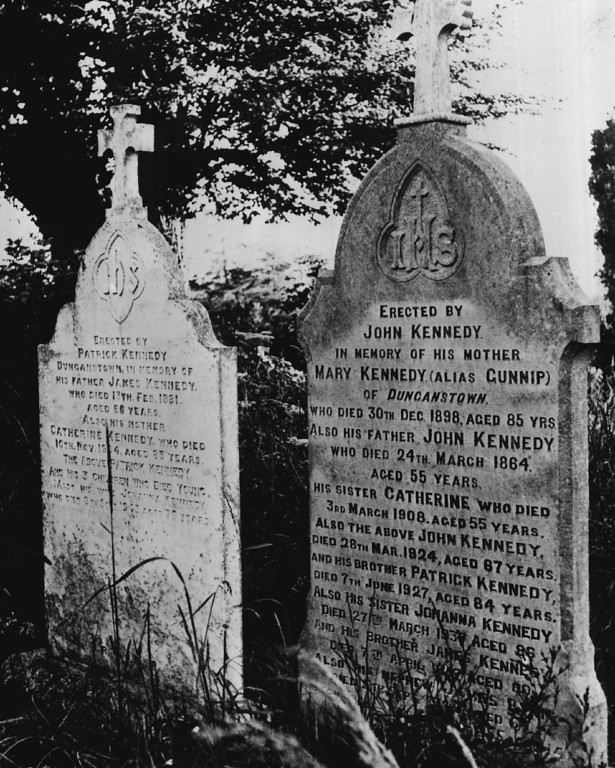 Description of . Kennedy visited his family homestead in County Kerry, Ireland, in June 1963, where these family headstones stood. Denver Post file