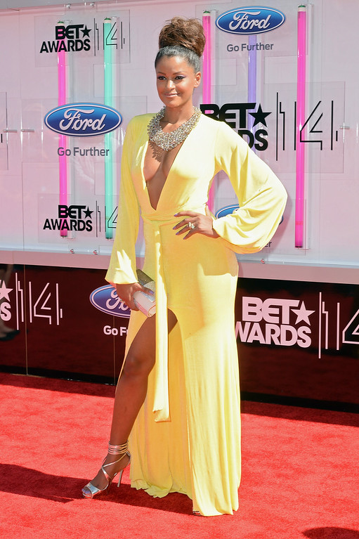 Description of . TV personality Claudia Jordan attends the BET AWARDS '14 at Nokia Theatre L.A. LIVE on June 29, 2014 in Los Angeles, California.  (Photo by Earl Gibson III/Getty Images for BET)