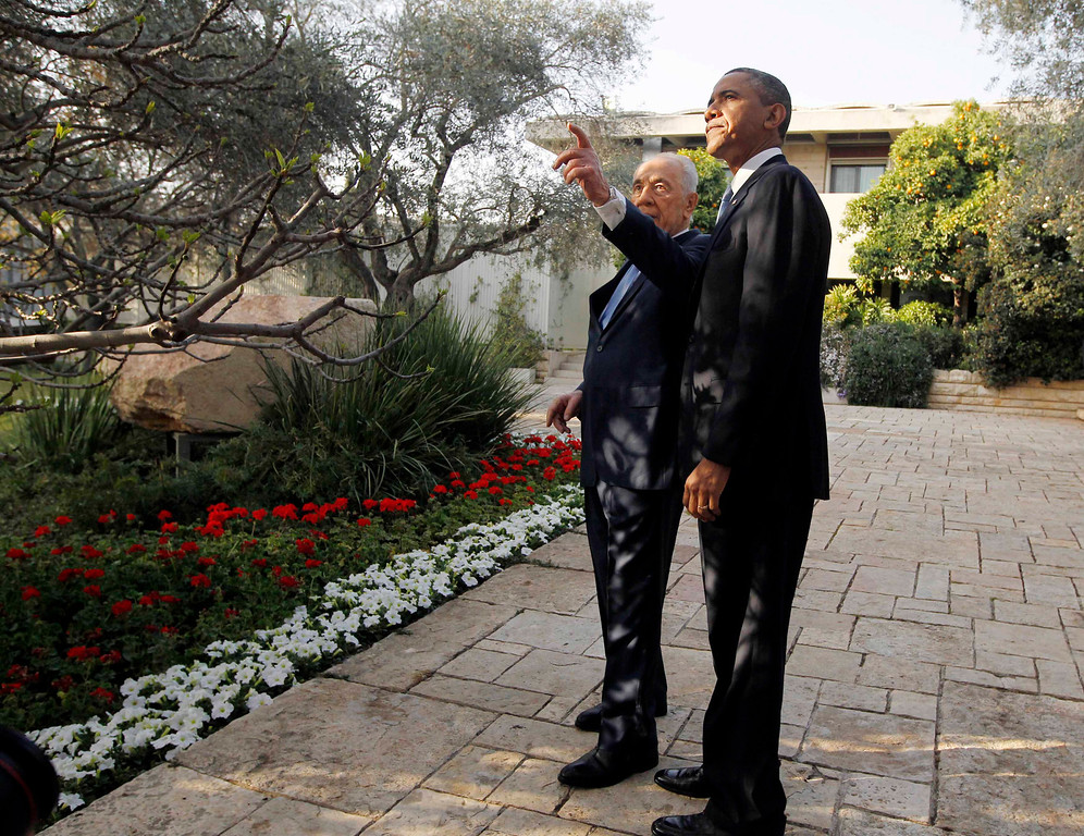 Description of . U.S. President Barack Obama is shown an olive tree at the residence of Israel's President Shimon Peres (L) in Jerusalem, March 20, 2013.  REUTERS/Jason Reed