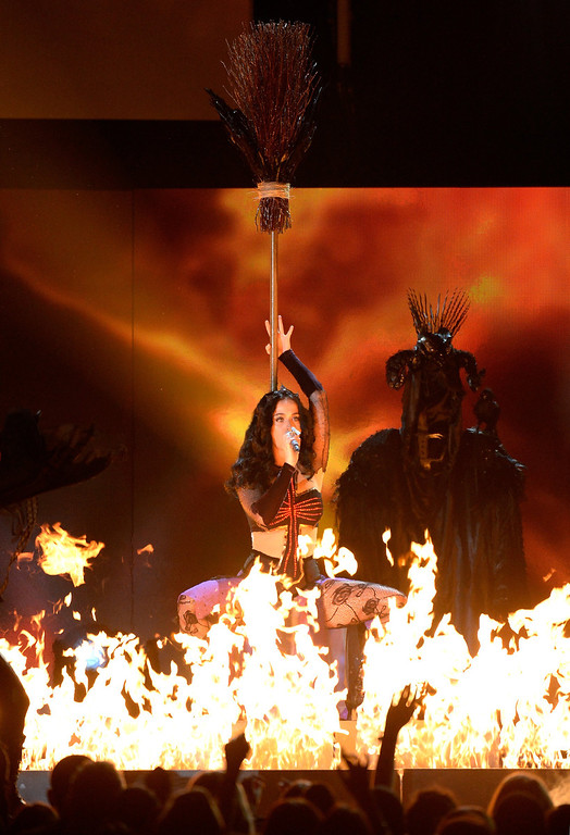 Description of . Singer Katy Perry performs onstage during the 56th GRAMMY Awards at Staples Center on January 26, 2014 in Los Angeles, California.  (Photo by Kevork Djansezian/Getty Images)