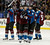 DENVER, CO. - FEBRUARY 28: Matt Duchene (9) of the Colorado Avalanche hugs Gabriel Landeskog (92) of the Colorado Avalanche at the end of the game against the Calgary Flames February 28, 2013 at Pepsi Center. The Colorado Avalanche defeated the Calgary Flames 5-4.(Photo By John Leyba/The Denver Post)
