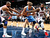 Timofey Mozgov #25 of the Denver Nuggets grabs a rebound against Al Horford #15 and DeShawn Stevenson #92 of the Atlanta Hawks at Philips Arena on December 5, 2012 in Atlanta, Georgia.  (Photo by Kevin C. Cox/Getty Images)