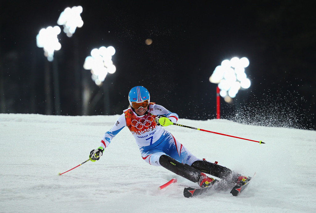 Description of . Marlies Schild of Austria in action during the Women's Slalom during day 14 of the Sochi 2014 Winter Olympics at Rosa Khutor Alpine Center on February 21, 2014 in Sochi, Russia.  (Photo by Clive Rose/Getty Images)
