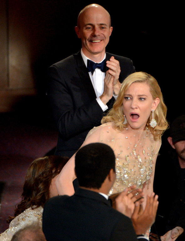 Description of . Cate Blanchett reacts after winning the award for best actress in a leading role for